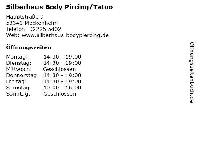 Silberhaus Body Pircing/Tatoo in Meckenheim: Adresse und Öffnungszeiten