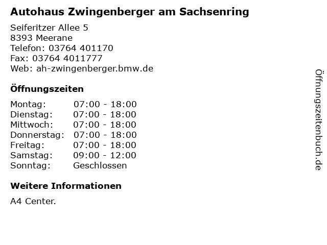 Autohaus Zwingenberger am Sachsenring in Meerane: Adresse und Öffnungszeiten