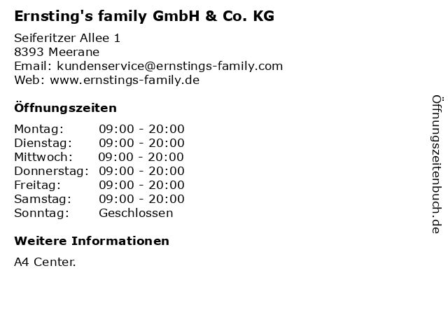 Ernsting's family GmbH & Co. KG in Meerane: Adresse und Öffnungszeiten