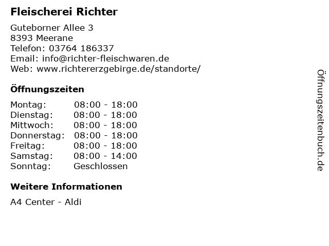 Fleischerei Richter GmbH & Co. KG in Meerane: Adresse und Öffnungszeiten