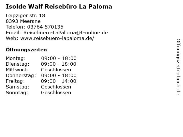 Reisebüro La Paloma in Meerane: Adresse und Öffnungszeiten
