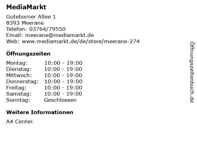 Media Markt TV-Hifi-Elektro GmbH in Meerane: Adresse und Öffnungszeiten