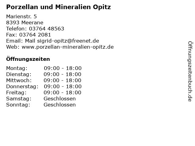 Porzellan und Mineralien Opitz in Meerane: Adresse und Öffnungszeiten