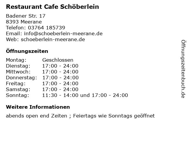Restaurant Cafe Schöberlein in Meerane: Adresse und Öffnungszeiten
