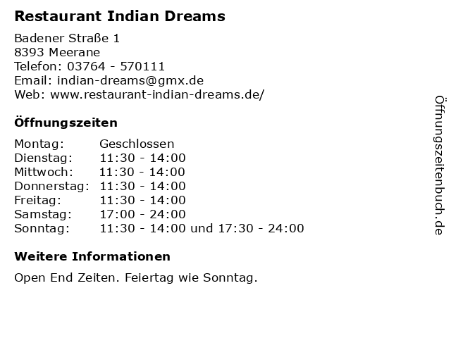 Restaurant Indian Dreams in Meerane: Adresse und Öffnungszeiten