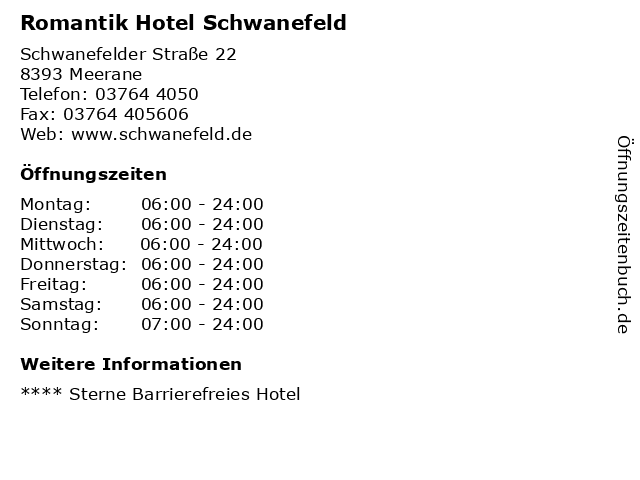 Romantik Hotel Schwanefeld in Meerane: Adresse und Öffnungszeiten