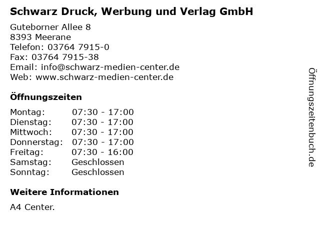 Schwarz Druck, Werbung und Verlag GmbH in Meerane: Adresse und Öffnungszeiten