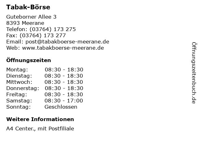 Tabak-Börse - Deutsche Post Filiale in Meerane: Adresse und Öffnungszeiten