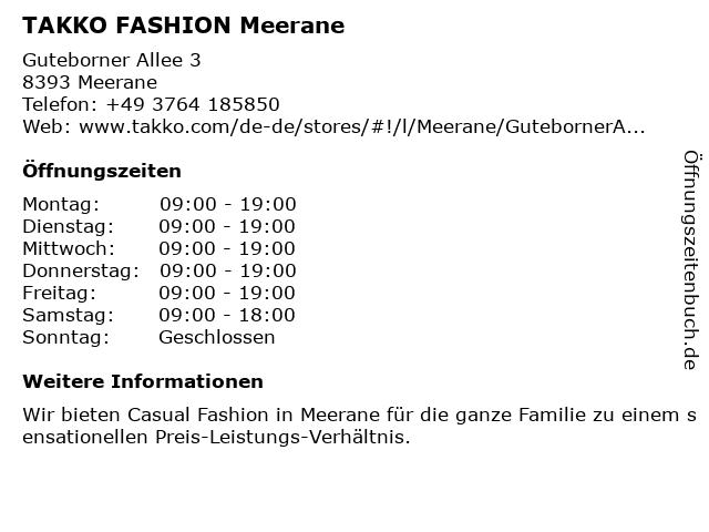 Takko Fashion in Meerane: Adresse und Öffnungszeiten