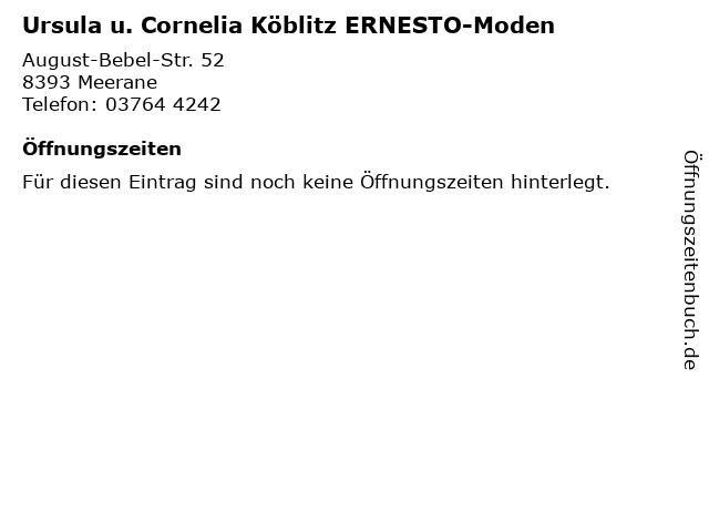 Ursula u. Cornelia Köblitz ERNESTO-Moden in Meerane: Adresse und Öffnungszeiten