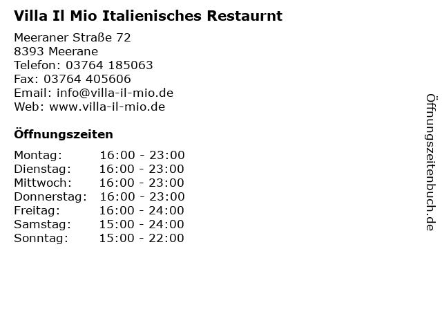 Villa Il Mio Italienisches Restaurnt in Meerane: Adresse und Öffnungszeiten
