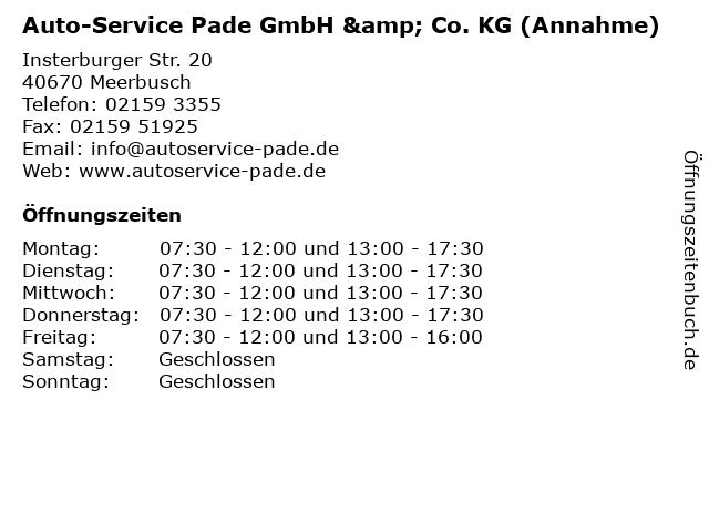 Auto-Service Pade GmbH & Co. KG (Annahme) in Meerbusch: Adresse und Öffnungszeiten