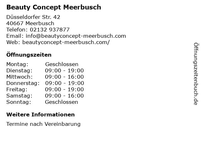 BEAUTY CONCEPT Inh. Carmen Schmitz-Lenders in Meerbusch: Adresse und Öffnungszeiten