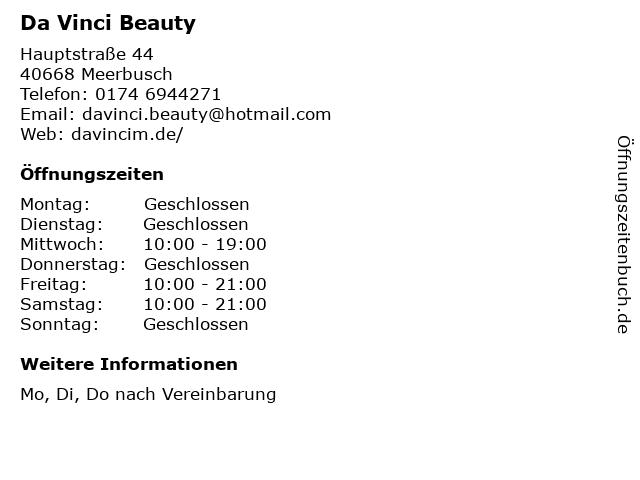 Da Vinci Beauty in Meerbusch: Adresse und Öffnungszeiten