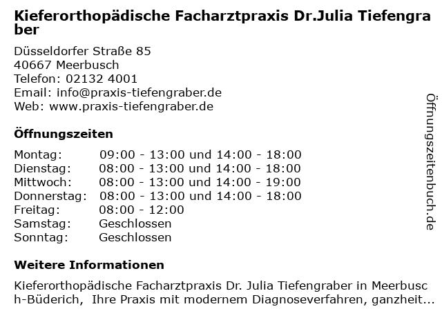 Dr. Julia Tiefengraber in Meerbusch: Adresse und Öffnungszeiten