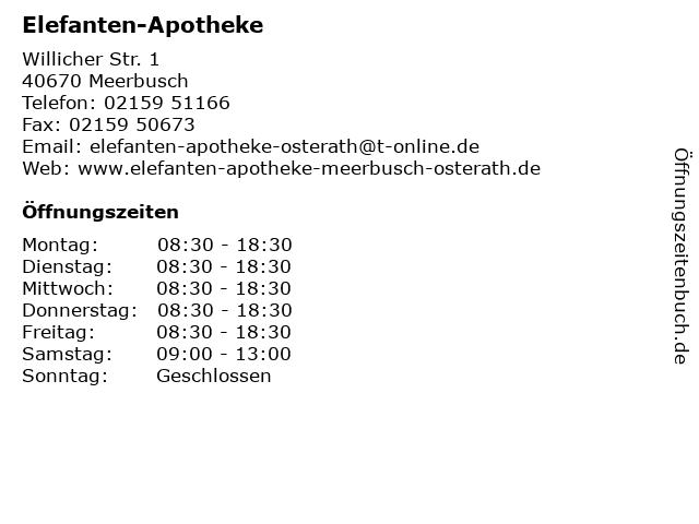 Elefanten-Apotheke in Meerbusch: Adresse und Öffnungszeiten