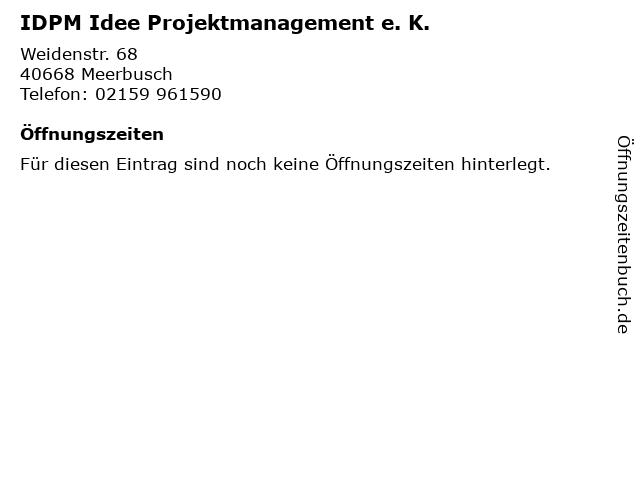 IDPM Idee Projektmanagement e. K. in Meerbusch: Adresse und Öffnungszeiten