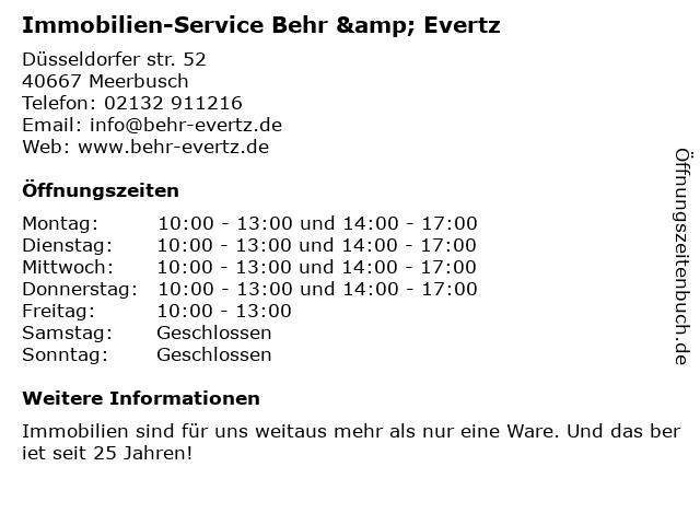 Immobilien-Service Behr & Evertz in Meerbusch: Adresse und Öffnungszeiten