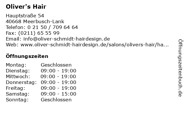 Oliver's Hair in Meerbusch-Lank: Adresse und Öffnungszeiten