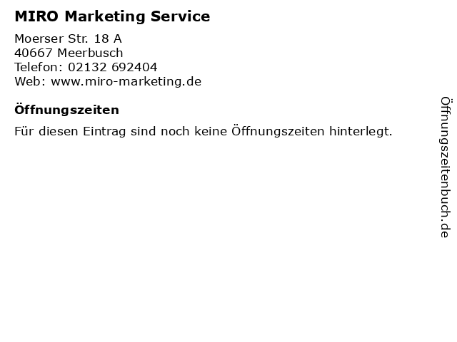 MIRO Marketing Service in Meerbusch: Adresse und Öffnungszeiten