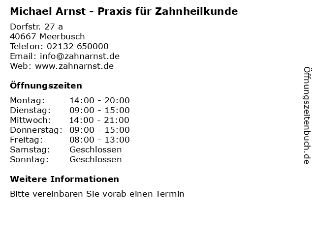 Michael Arnst - Praxis für Zahnheilkunde in Meerbusch: Adresse und Öffnungszeiten