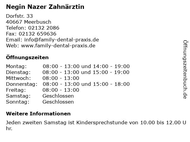 Negin Nazer Zahnärztin in Meerbusch: Adresse und Öffnungszeiten