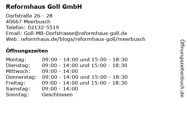 Reformhaus Goll GmbH in Meerbusch: Adresse und Öffnungszeiten