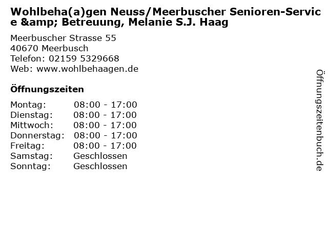 Wohlbeha(a)gen Neuss/Meerbuscher Senioren-Service & Betreuung, Melanie S.J. Haag in Meerbusch: Adresse und Öffnungszeiten