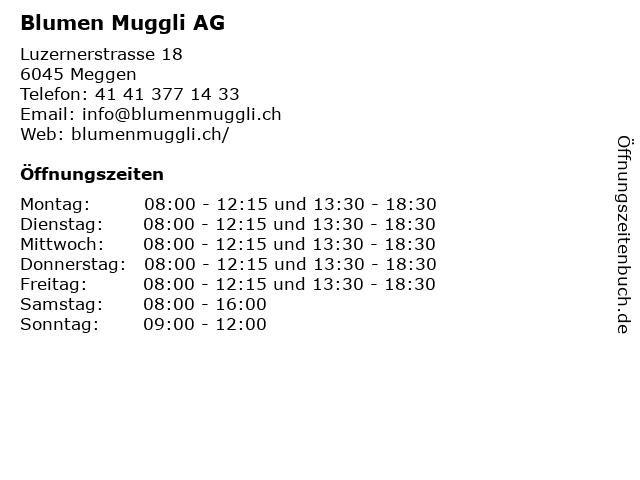 Blumen Muggli AG in Meggen: Adresse und Öffnungszeiten