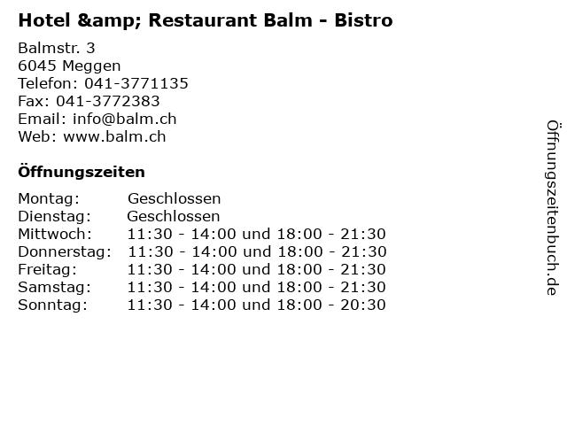 Hotel & Restaurant Balm - Bistro in Meggen: Adresse und Öffnungszeiten