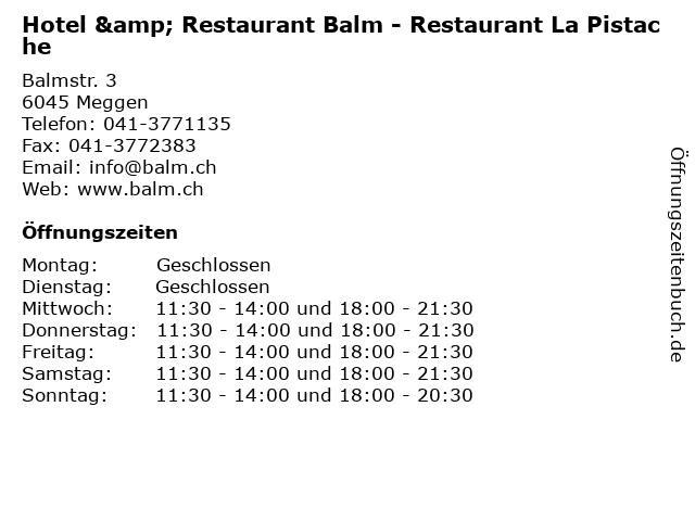 Hotel & Restaurant Balm - Restaurant La Pistache in Meggen: Adresse und Öffnungszeiten