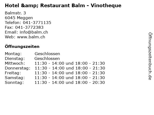 Hotel & Restaurant Balm - Vinotheque in Meggen: Adresse und Öffnungszeiten