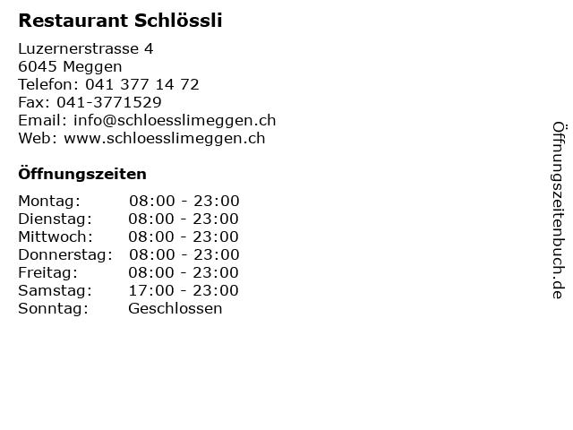 Restaurant Schlössli in Meggen: Adresse und Öffnungszeiten