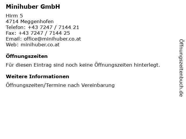 Minihuber GmbH in Meggenhofen: Adresse und Öffnungszeiten