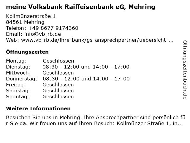 VR meine Raiffeisenbank eG in Mehring: Adresse und Öffnungszeiten