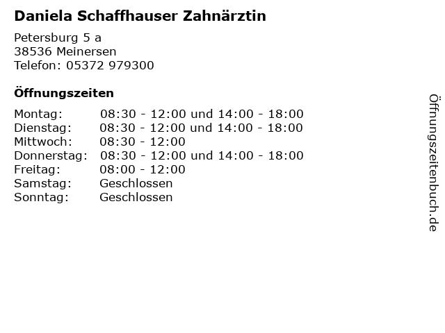 Daniela Schaffhauser Zahnärztin in Meinersen: Adresse und Öffnungszeiten