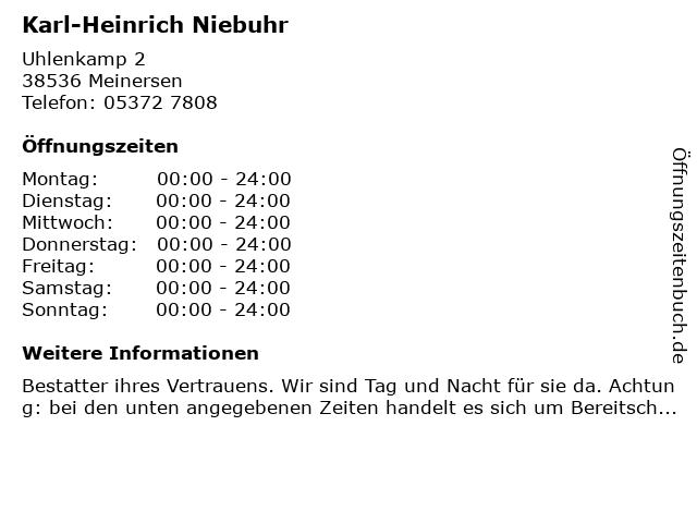 Karl-Heinrich Niebuhr in Meinersen: Adresse und Öffnungszeiten