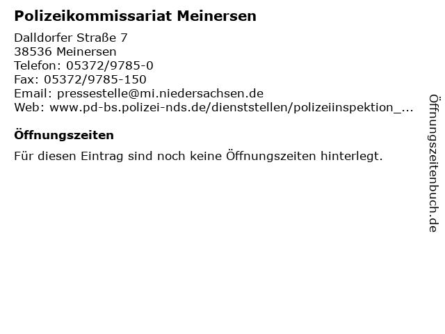 Polizeikommissariat Meinersen in Meinersen: Adresse und Öffnungszeiten
