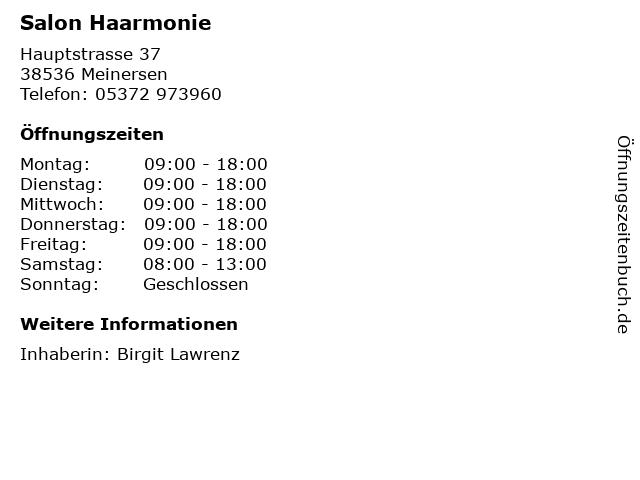 Salon Haarmonie in Meinersen: Adresse und Öffnungszeiten