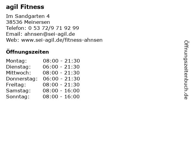 agil Fitness in Meinersen: Adresse und Öffnungszeiten