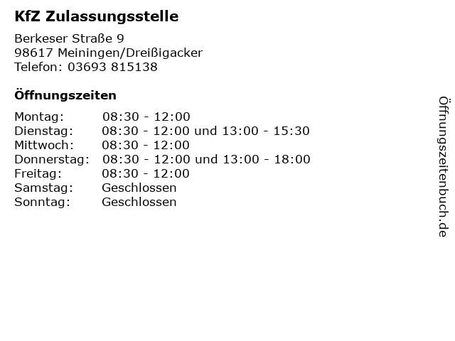 KfZ Zulassungsstelle in Meiningen/Dreißigacker: Adresse und Öffnungszeiten