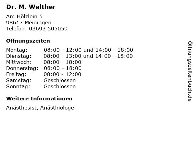 Dr. M. Walther in Meiningen: Adresse und Öffnungszeiten
