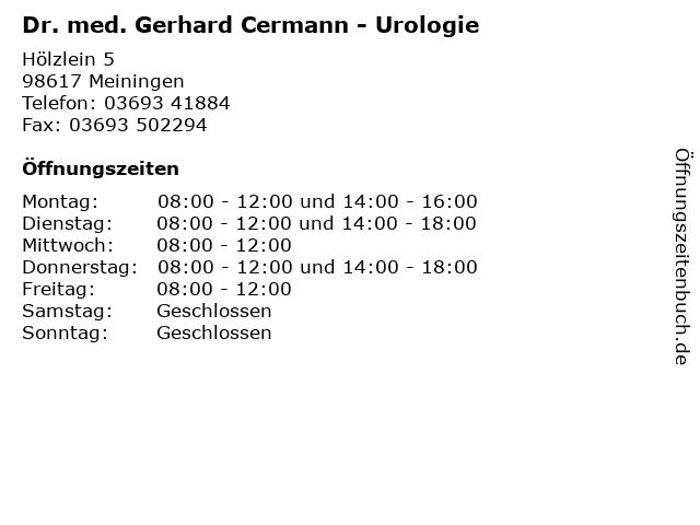 Dr. med. Gerhard Cermann - Urologie in Meiningen: Adresse und Öffnungszeiten