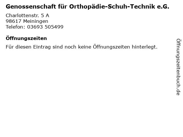 Genossenschaft für Orthopädie-Schuh-Technik e.G. in Meiningen: Adresse und Öffnungszeiten