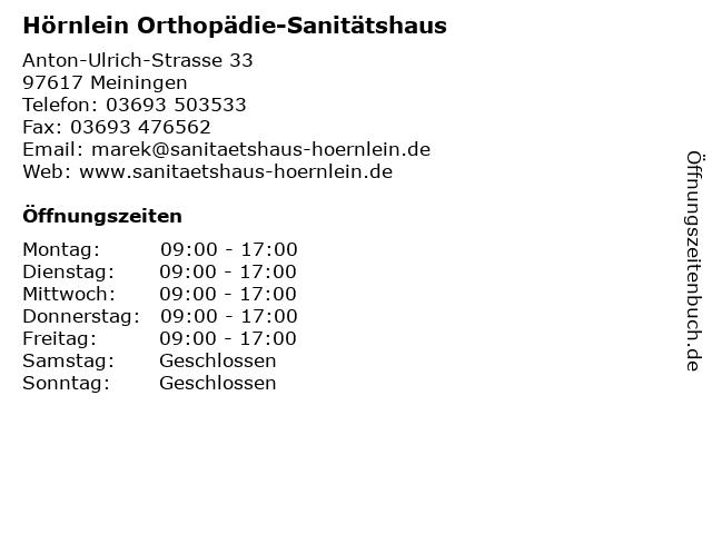 Hörnlein Orthopädie-Sanitätshaus in Meiningen: Adresse und Öffnungszeiten