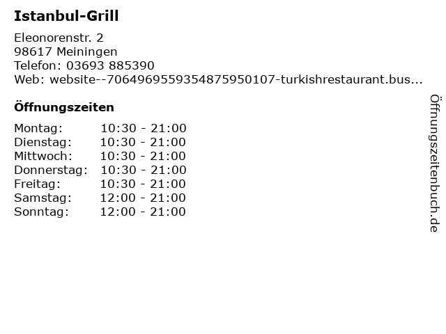 Istanbul-Grill in Meiningen: Adresse und Öffnungszeiten