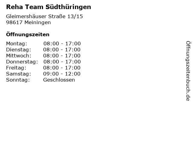 Reha Team Südthüringen in Meiningen: Adresse und Öffnungszeiten