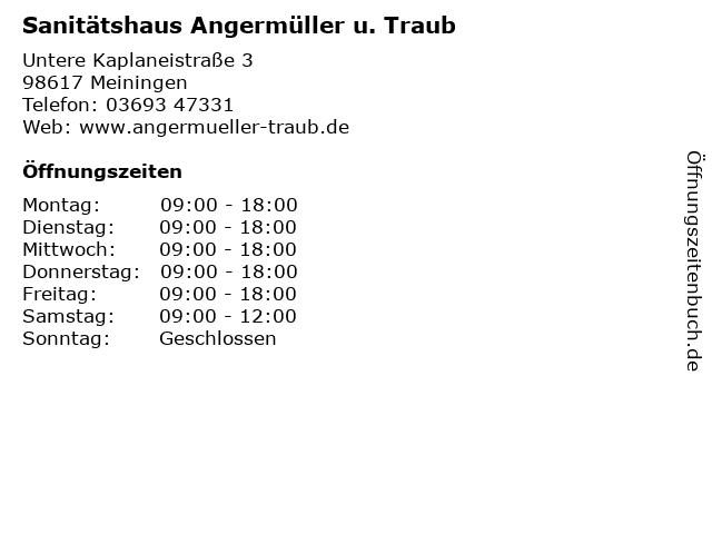 Sanitätshaus Angermüller u. Traub in Meiningen: Adresse und Öffnungszeiten