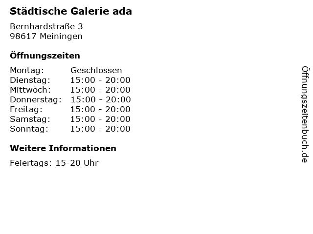 Städtische Galerie ada in Meiningen: Adresse und Öffnungszeiten