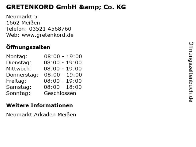GRETENKORD GmbH & Co. KG in Meißen: Adresse und Öffnungszeiten